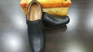Mens Black Colour Leather Slip On Shoes Casual Formal Work Office School (A-D-6)