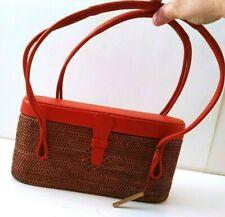 Womens,Vintage,Elliott Lucca,Brown Rattan/Orange Leather Cute,Shoulder Bag/Purse