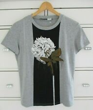 SPORTMAX CODE MAXMARA Grey Black Floral Embroidered Fringed T Shirt Top M 12 14