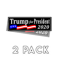 Trump for President 2020 Black Bumper Sticker 2020 Decal 2 Pack