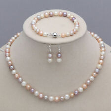 8-9mm Real Natural Akoya Cultured Pearl Necklace Bracelet Earrings Jewelry Set