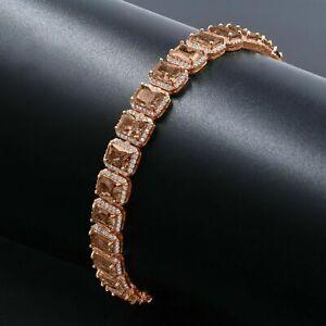 Unisex Brown Topaz Smokey Solitaire Simulated Diamonds Rose Gold  Bracelet 8.5''