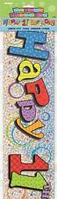 11 Feliz Cumpleaños Plata & multicolor Holográfico Letrero De Fiesta 12ft Largo