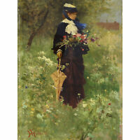 Ferdinand Heilbuth Woman With Flowers C1875 Painting Large Wall Art Print 18X24