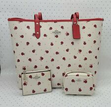 🐞Coach LADYBUG REVERSIBLE TOTE BAG + COSMETIC CASE + SNAP CARD CASE Wallet $566