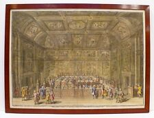 1745 RARE LARGE ORIGINAL ENGRAVING HOLLAND CONFERENCE CHAMBER OF THE LORDS