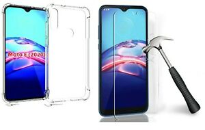 Motorola Moto E7/Moto E 2020 Clear Shockproof Protective Case + Tempered Glass