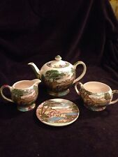 Sadler The Old Mill  Tea Set England EUC Teapot Sugar Creamer Trivet