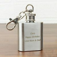 Personalised 1oz Stainless Steel  Hip Flask Keyring-Engraved for Free-Birthdays