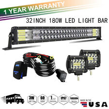 "32inch Upgraded 5D Tri Row LED Long Light Bar Spot Flood Combo Beam PK 30"" 5ty"