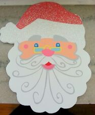 5 Wood Glitter Cutouts SANTA FACE Package Topper Crafts Wreaths BX
