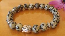 Anti-Depression Dalmation,Jasper Buddha 8mm Gemstone Bracelet Healing Stacking