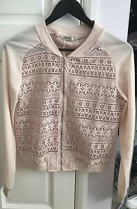 Brand New Lace Zip Top, Size S, By Stradivarius