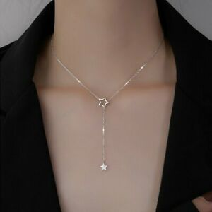 925 Silver Star Tassel Cubic Zirconia Clavicle Chain Pendant Women Necklace Gift