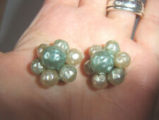 Vintage Duck Egg Ivory Colour Lucite Hammer Pearl Cluster 20mm CLIP ON Earrings