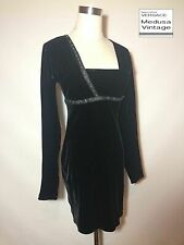VERSACE J COUTURE VINTAGE BLACK VELVET DRESS RHINESTONES VELOURS PARTY COCKTAIL