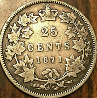 1871 CANADA SILVER 25 CENTS QUARTER COIN - Obverse #1