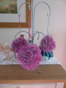 Hand knitted Christmas Tinsel Bauble Pink and silver