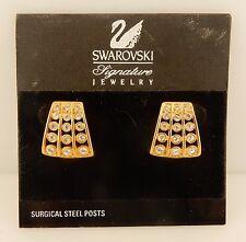 Vintage gold plated Swarovski Crystal Signature Brand Earrings