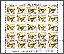 Guyana 1988 o/p Health for All - Butterflies - block of 25 -Mi.2167-68 MNH (**)