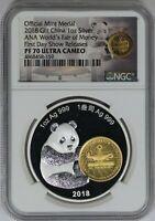 China 2020 Filament Enamel Panda Mid-Autumn Festival Great Wall Gilt Medal