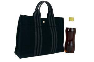 Auth Hermes Paris Fourre Tout MM Black Cotton Canvas Mini Tote Hand Bag France
