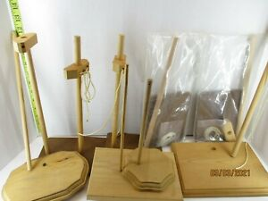 Lot of 9 wood doll stands some complete some not complete Item #1