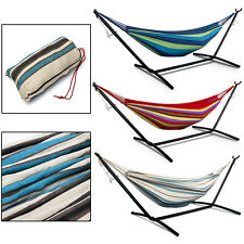 Hot Double Canvas Garden Hammock Stand Hook Outdoor Camping Beach Swing Bed