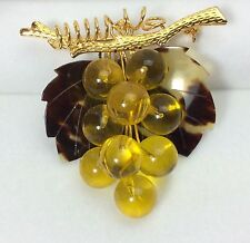 Vintage Lucite Amber Grape Cluster Faux Tortoise Shell Gold Plated Pin Brooch.