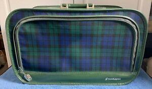 "Vintage Grasshopper Suitcase Green Tartan Plaid Soft Side Luggage 21""x13""x7""."