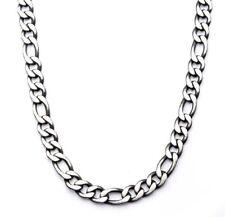 "Inox Jewelry Stainless Steel Black IP Figaro Chain Necklace 24"""