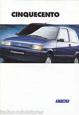 Fiat Cinquecento Sporting S SX Ed Suite italiano FOLLETO 1995 Perfecto Estado