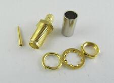 10x RP-SMA Female Nut Bulkhead Crimp RG58 RG142 RG400 LMR195 Cable RF Connector