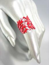 CHIC & UNIQUE Natural Red Coral Lacquer Enamel Coral Motif Metal Ring