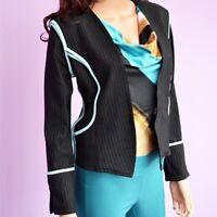 Women Pinstripe Black Casual Work Long Sleeve Open Front Blazer Jacket XS-S-M-L