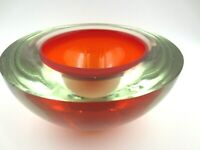 XXL Red Murano sommerso geode art glass bowl with label poli seguso era WOW