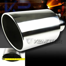 "Bolt-On 15"" Chrome Stainless Steel 4"" Inlet 8"" Outlet Truck Exhaust Muffler Tip"