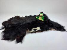 Black Goat rug fur pelt hide leather skin 100%Natural Reindeer Sheepskin Deer