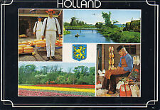 Postcard  Europe Holland  multi view clog making and bulb fields posted