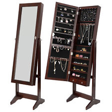 6 LED Mirror Jewelry Organizer Cabinet Armoire Lockable Free Standing w/2 Drawer