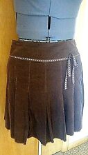 I T W by Claude Brown Corduroy  sz 8 Pleated Skirt Pink Grosgrain Ribbon A Line