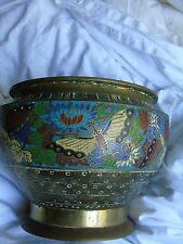 Chinese brass and champleve enamel jardiniere antique butterfly large