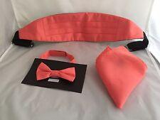 <TOP's > Page Boy- Boys Coral-Salmon Polyester Bow tie + Cummerbund & Hankie Set