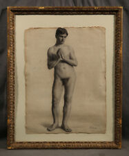 Beautiful Athletic Nude Man American Black & White Charcoal Early 20 Century GAY