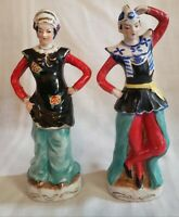 Vintage Ceramic Oriental Man and Woman Dancing Figurines Hand Painted