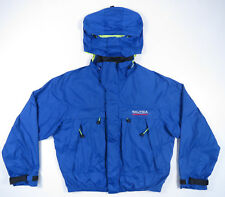 NAUTICA COMPETITION BLUE HOODED SPELL OUT SAILING WINDBREAKER JACKET 90S VTG