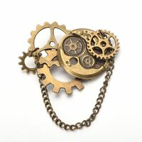 Vintage Steampunk Gear Chain Brooch Victorian Party Costume Breastpin Lapel Pin