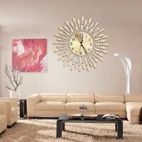 EG _ 38.1cm 3D Horloge murale Brillant Strass soleil style salle à manger décor