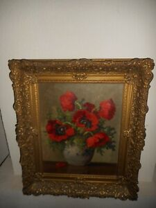 Large antique oil painting,{ Beautful still life with flowers, great frame! }.