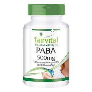 PABA 500mg - 100 Tabletten vermindert Falten und graue Haare   VEGAN   fairvital